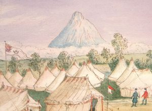 Painting of the 65th Regiment camp at Waitara, 1860 (Alexander Turnbull Library, B-103-01)