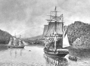 The John Wickliffe anchored at Port Chalmers, 1848 (Alexander Turnbull Library, 1/2-003216-G)