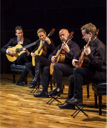 The New Zealand Guitar Quartet plays Oamaru telegram